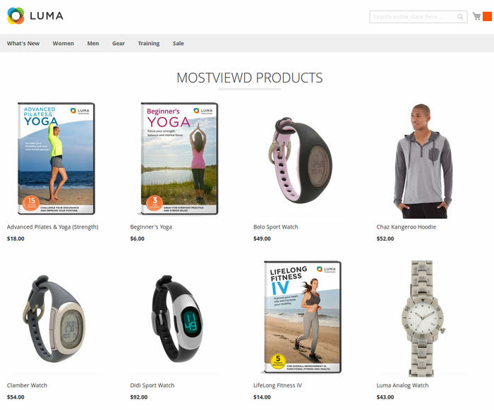 Most viewed Products in Grid (Luma Theme)