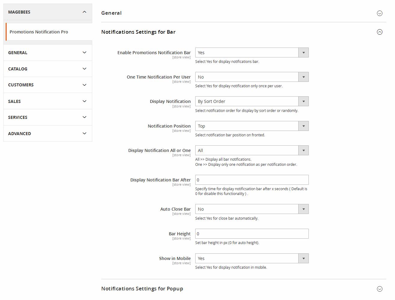 Configuration -  Notification Bar Options