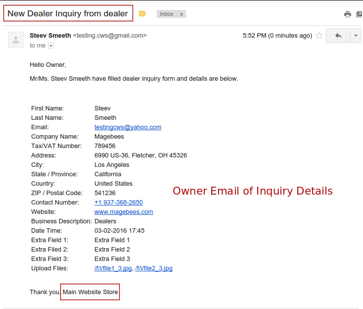 Owner Email Of Inquiry Details