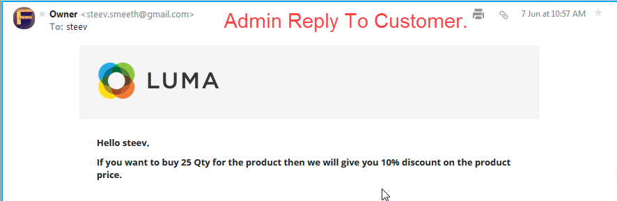 Call For Price Admin Reply To Customer Email