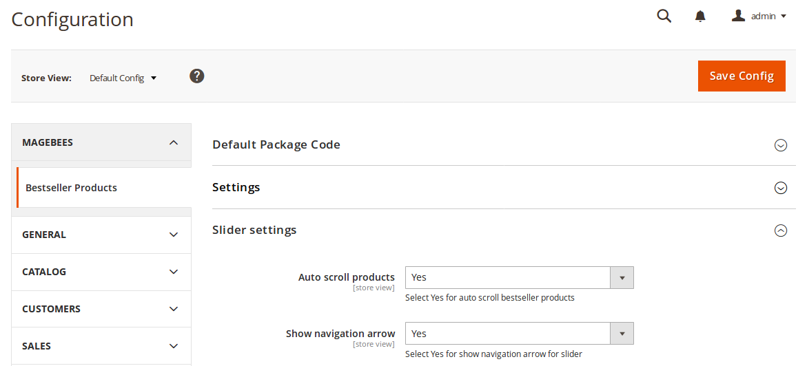 Best Seller Products Slider setting