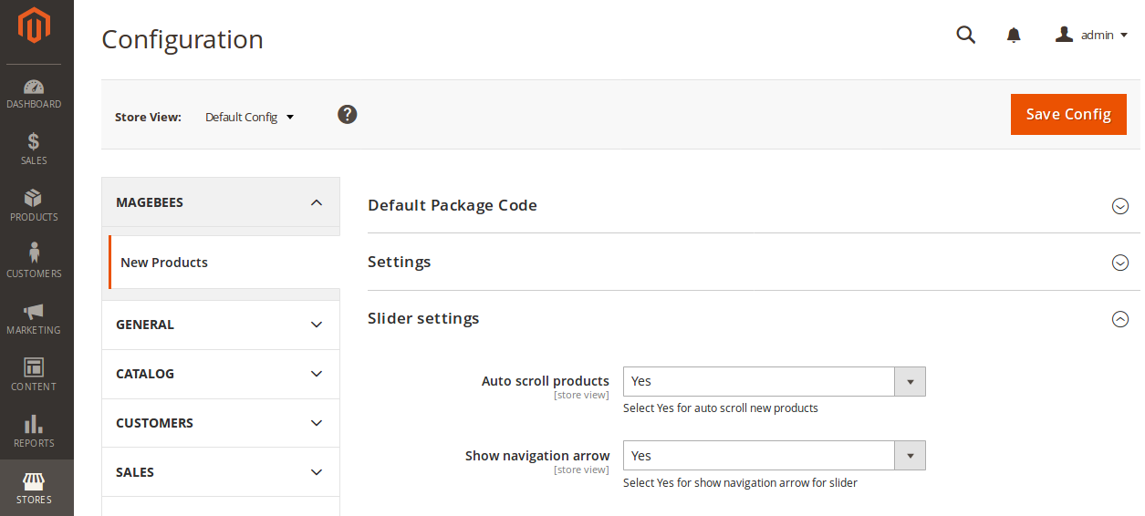 New Products Slider Configuration