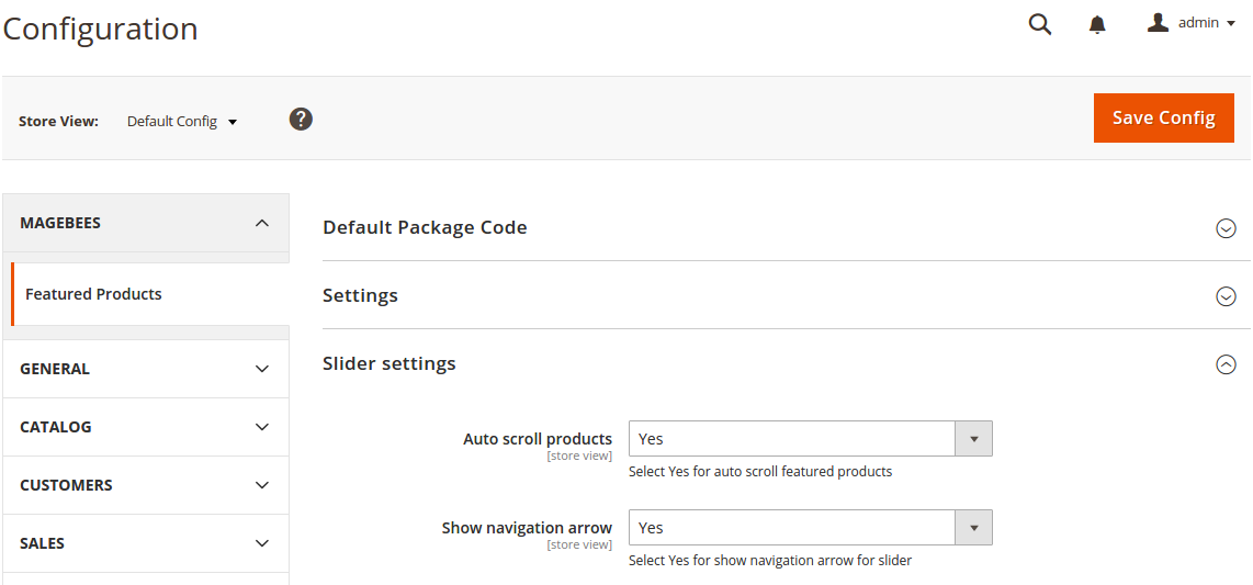 Featured Products Slider setting