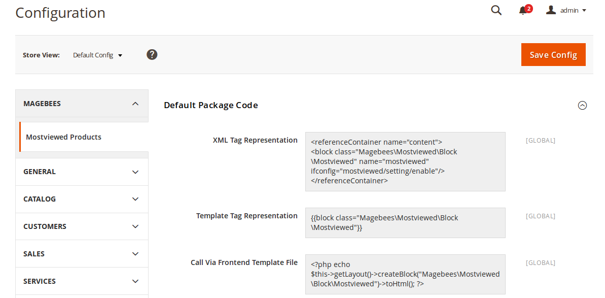 Most viewed Products Default Package Code