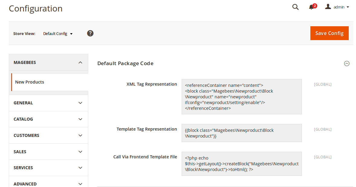 New Products Default Package Code