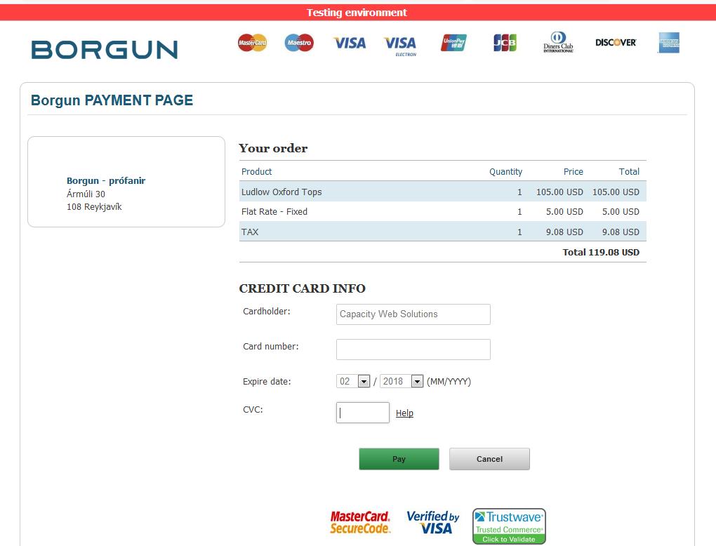 Borgun Payment Page