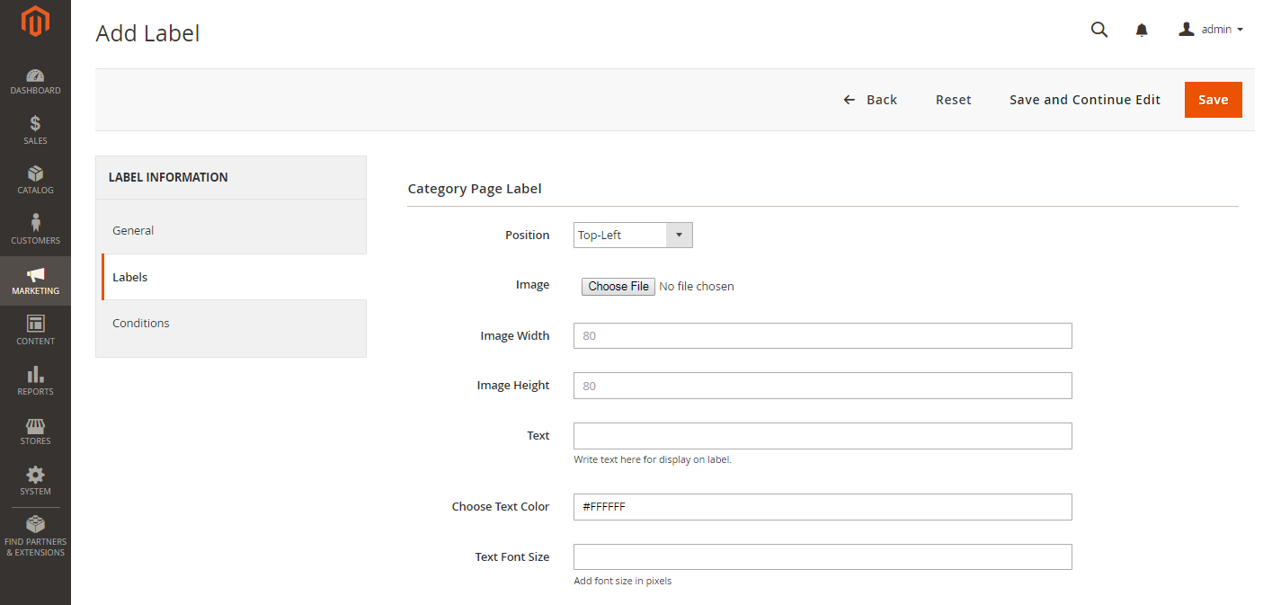 Category Page Label Settings