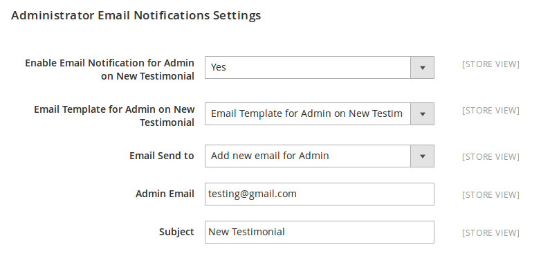 Administrator Email Notification Setting