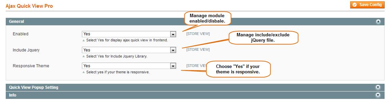 Manage Ajax Quick View Pro Configuration