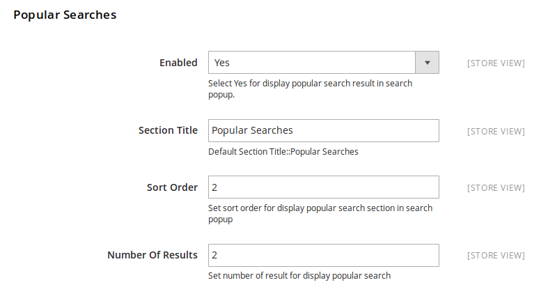 Popular Search Result Settings