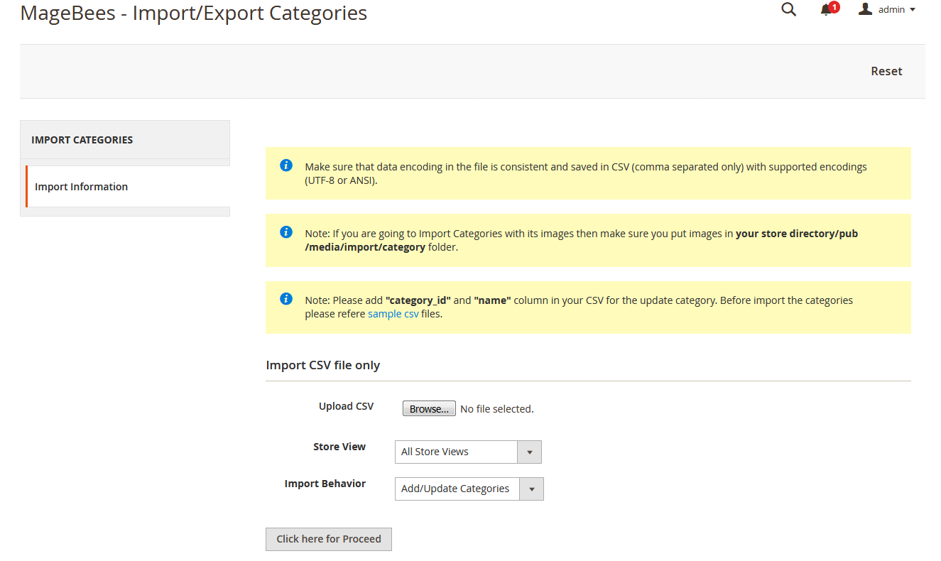 Import Categories for Magento2