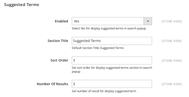 Suggested Terms Display Settings