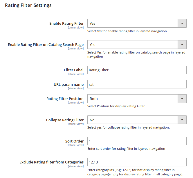Rating Filter Settings