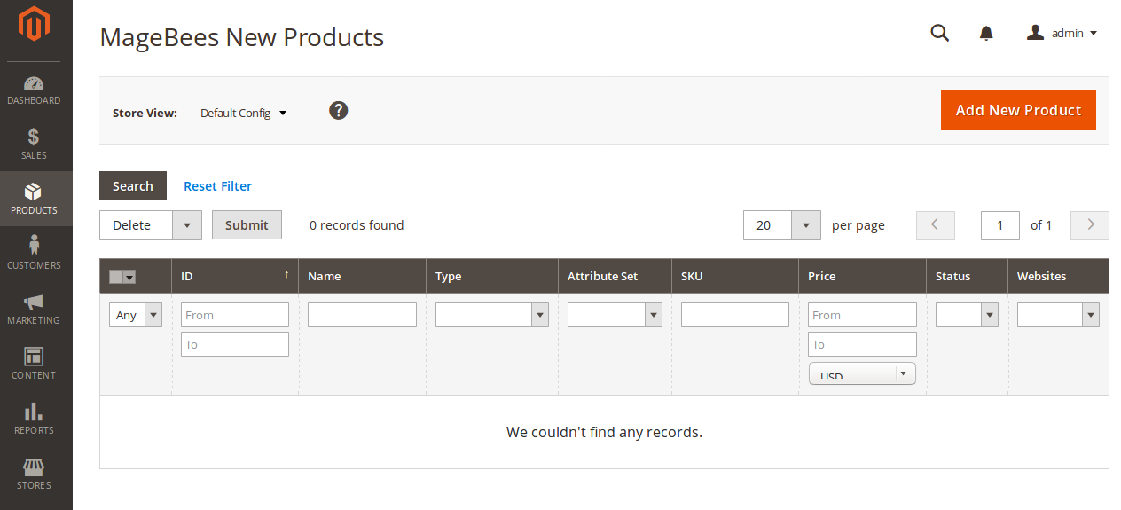 Manually added New Products Grid