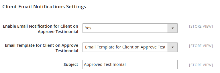 Client Email Notification Setting