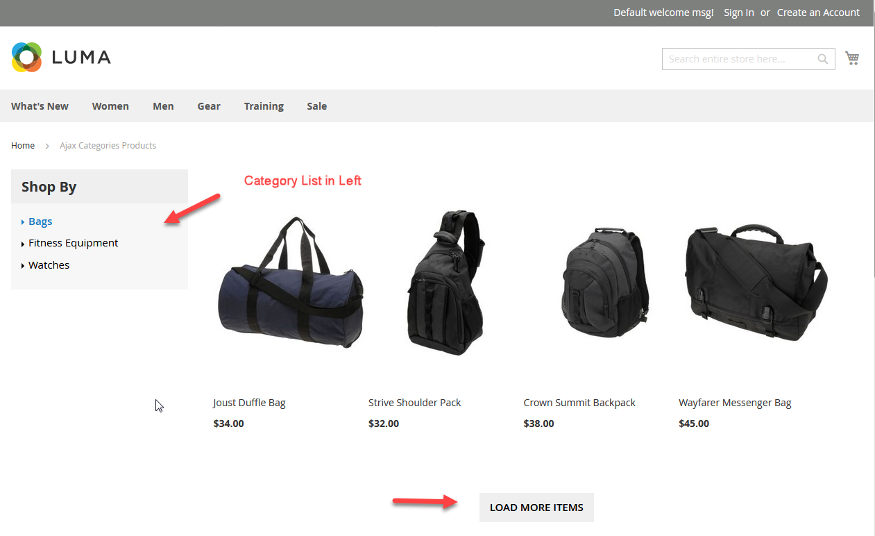 Products with category list sidebar