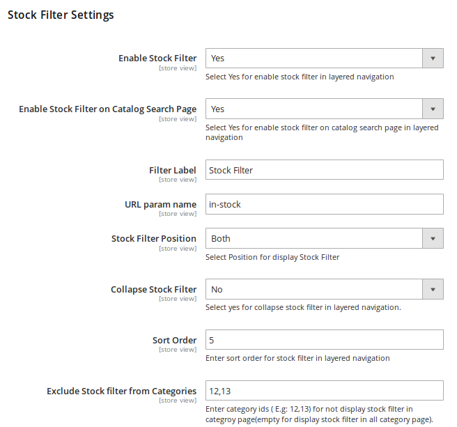 Stock Filter Settings