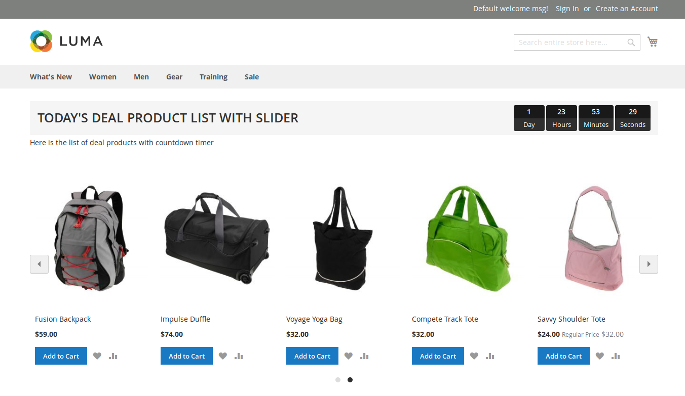 Deal Products with Slider