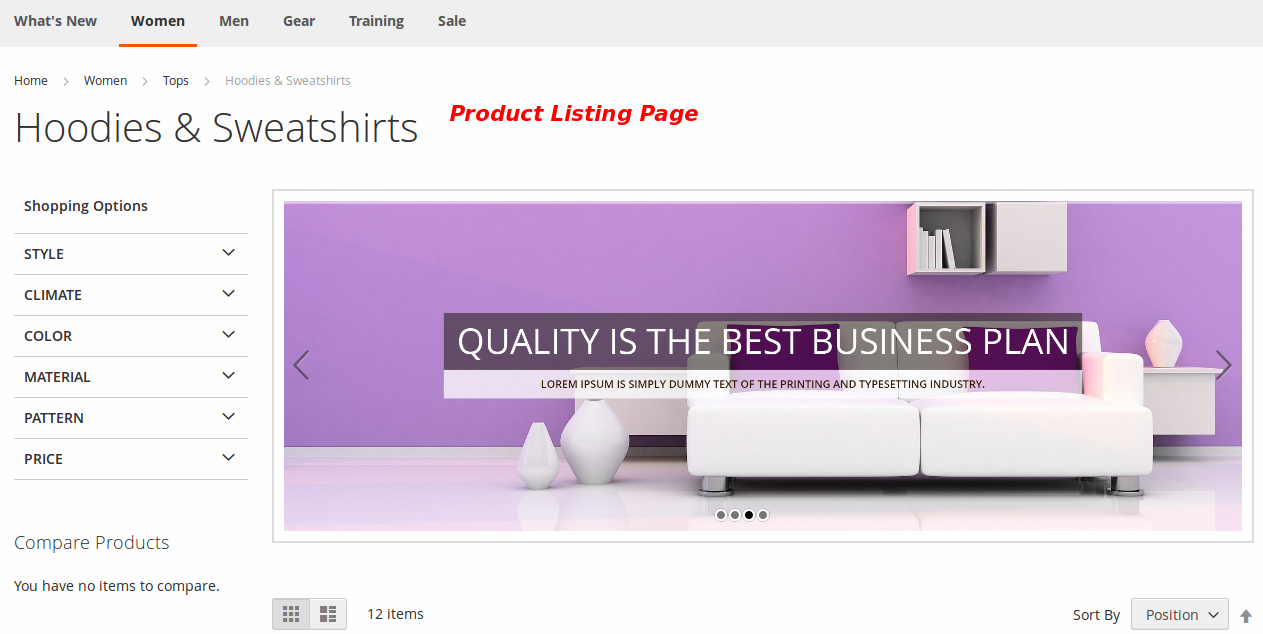 Slider On Product Listing Page