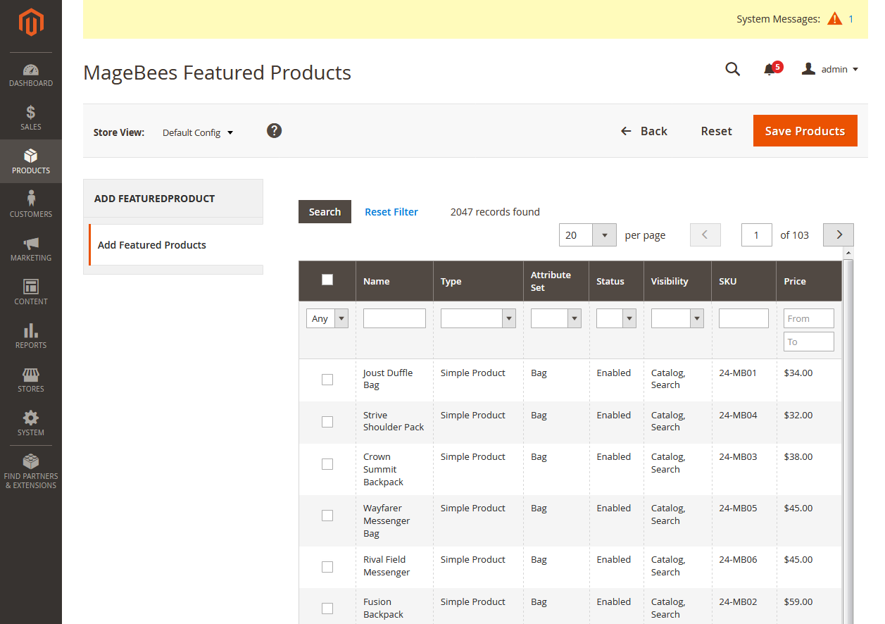 Add Featured Products Manually
