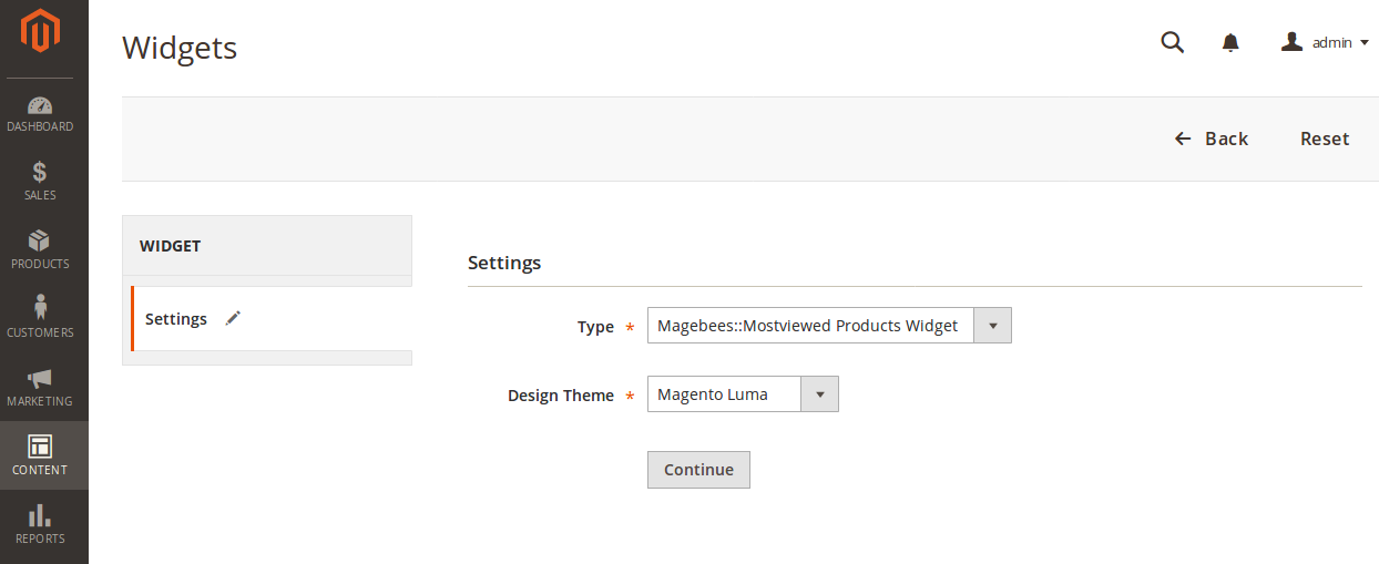 Most viewed Products Widget Options