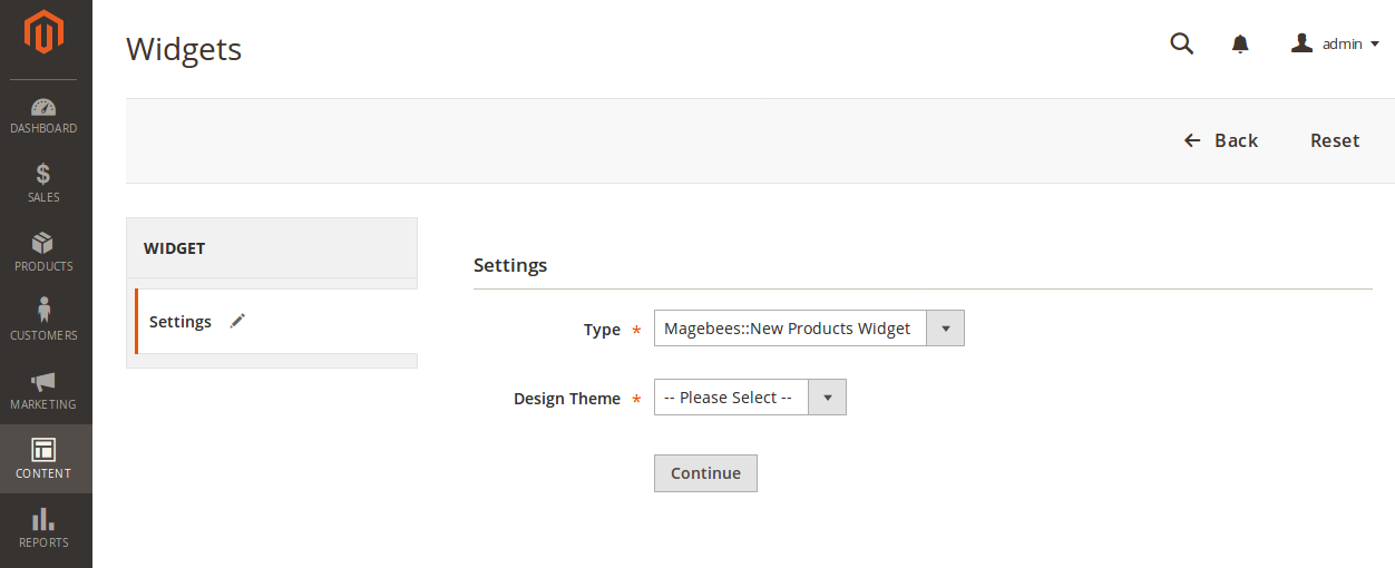 New Products Widget Options
