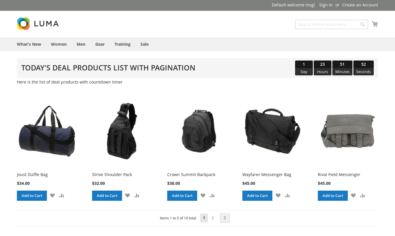 Deal Products List with Pagination