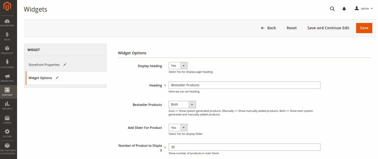 Best Seller Products Widget Options