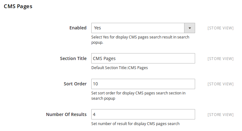 CMS Pages Search Result Settings