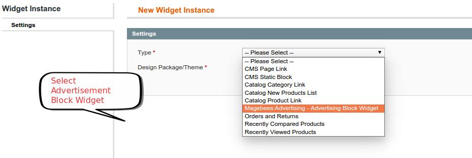Select Advertisemnet Widget
