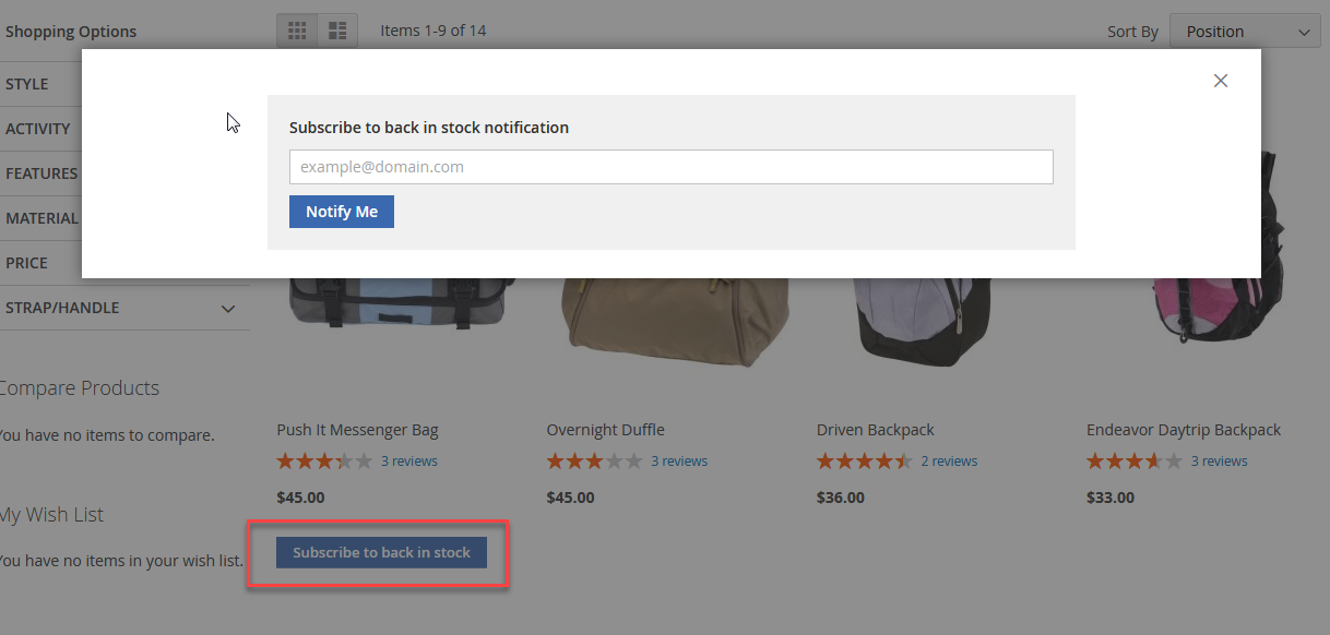 Notofication Popup for Product List Page