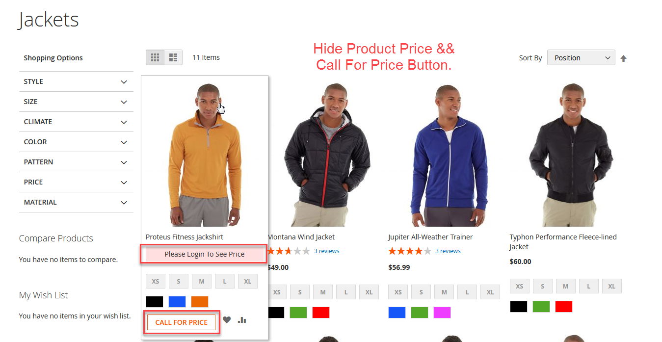 Call For Price Button On Category Listing Page