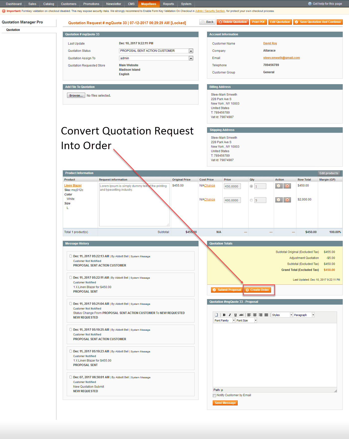 Admin Convert Quoteation Request To Order