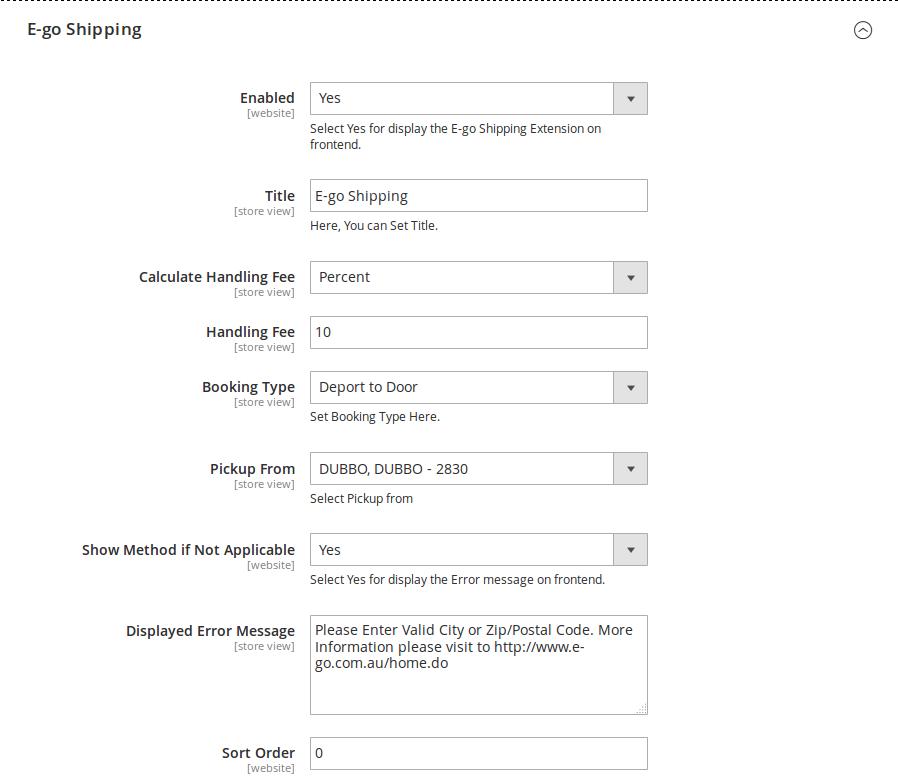 E-go Shipping Method Setting