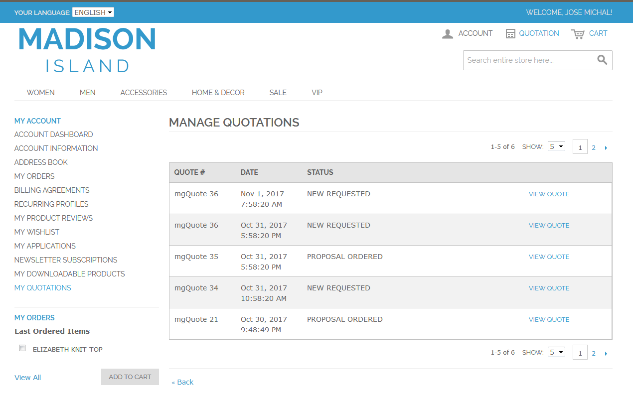 Customer Side Manage Quotation Page