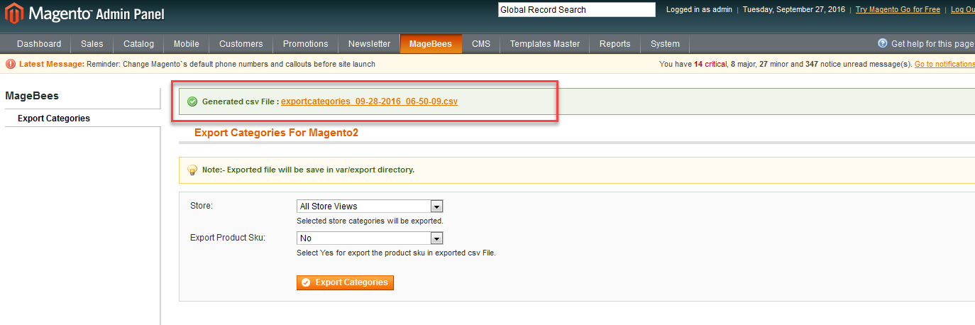Export Categories for Magento 1