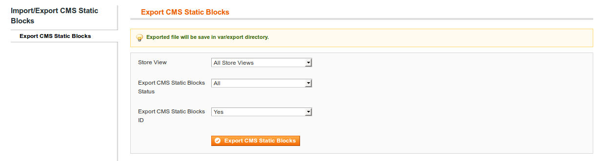 Export CMS Blocks