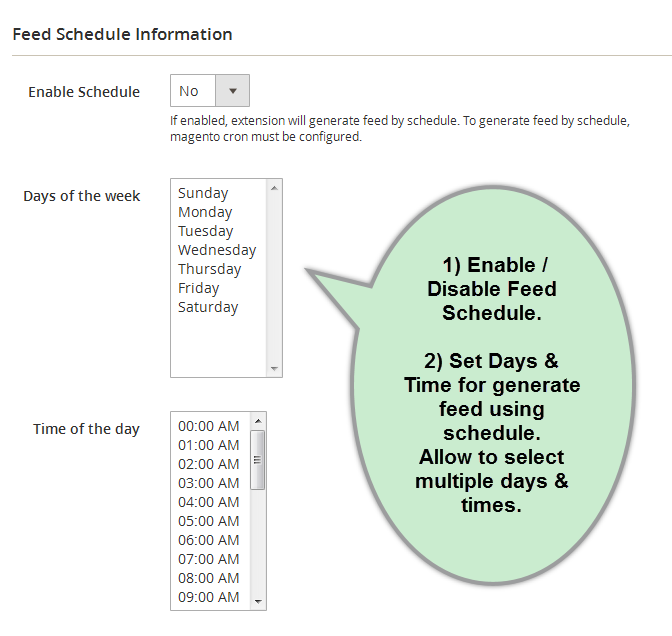 Feed Schedule Section