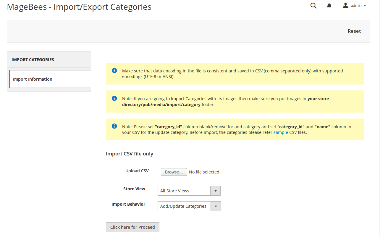 Import Categories
