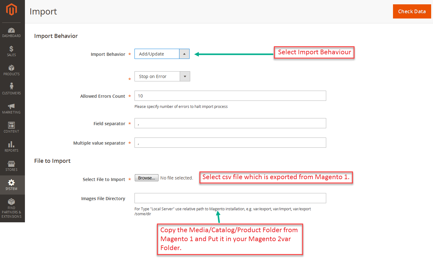 Magento 2 Import Page