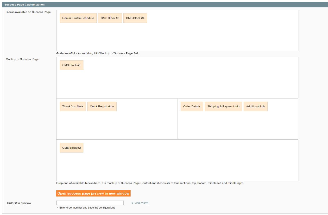 Success Page Configurations