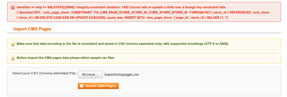 Example of Error while importing CMS Pages