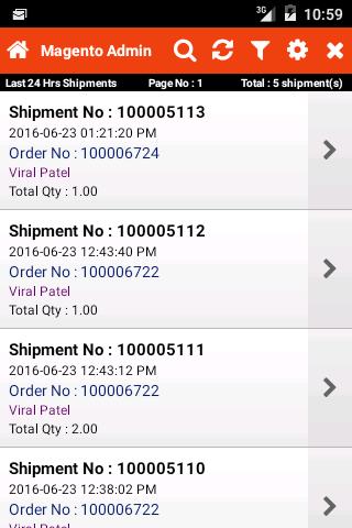 Shipment Listing Page
