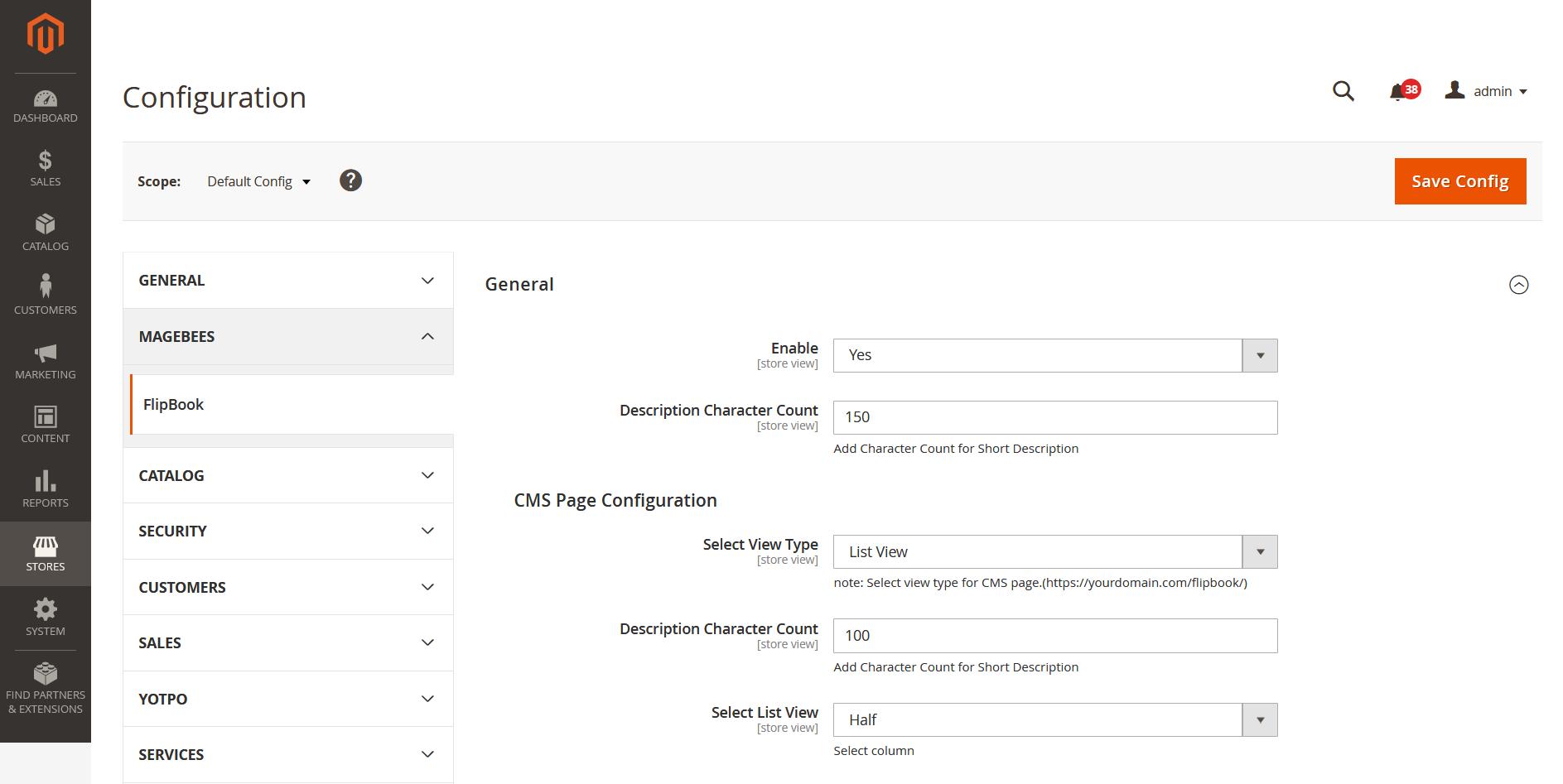 FlipBook Configuration Section