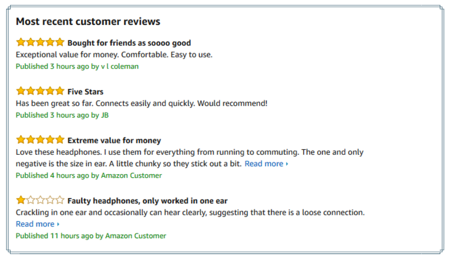 Customer Reviews Examples
