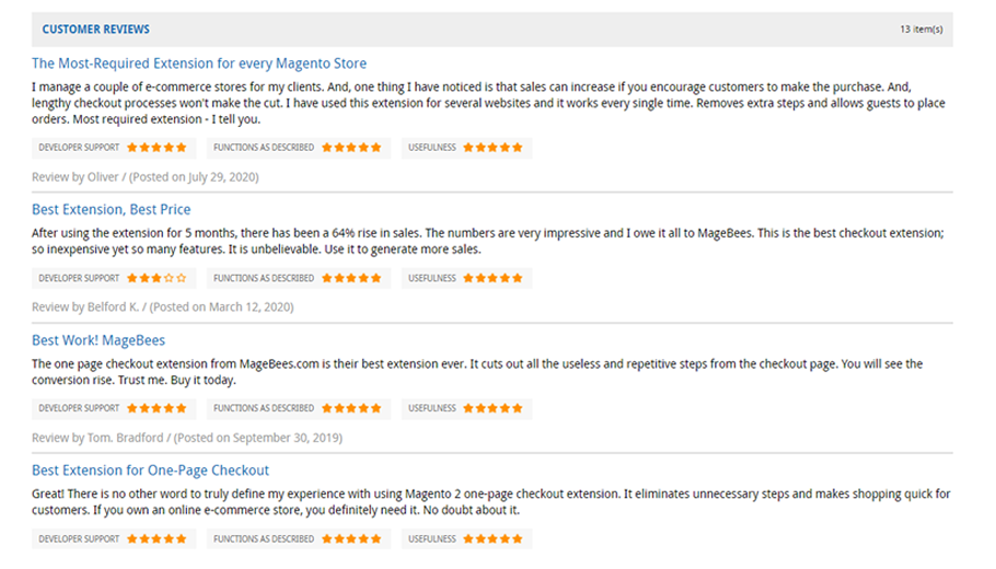 Customer Reviews for Magento 2 One Page Checkout Extension of MageBees