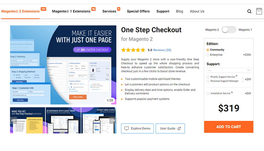 Amasty One Step Checkout Extension