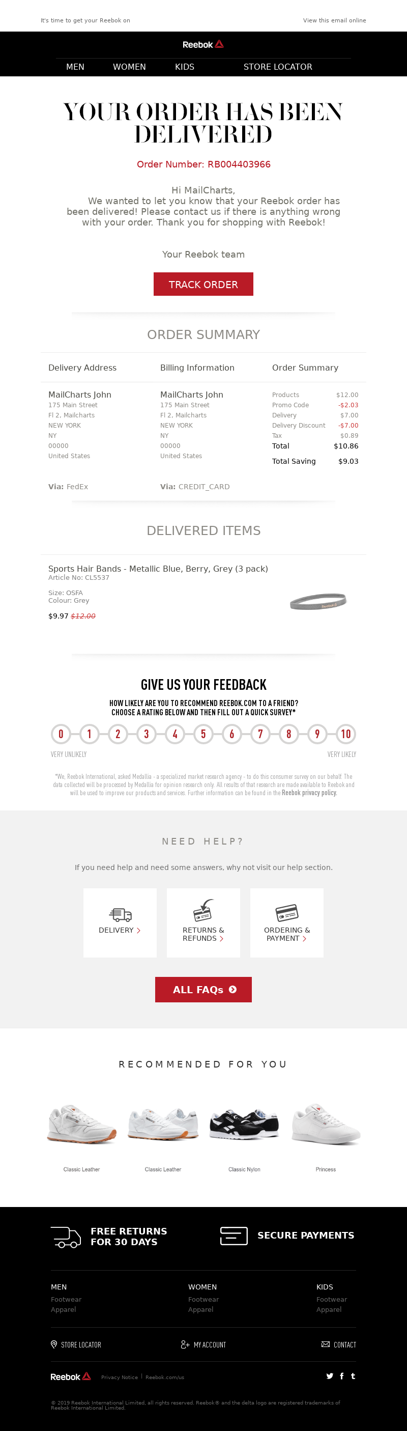 Example of Delivery Confirmation Email
